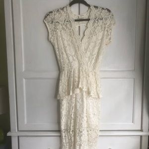 Fate Fitted White Lace Dress w/ Peplum